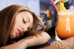 tired beautiful women - stock photo