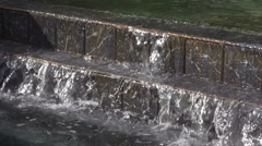 Waterfall Fountain - Stone Tile Stairs - Pool Of Water - Slow Motion 003 Stock Footage