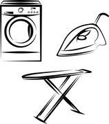 washing appliances set - stock illustration