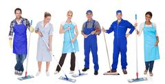 group of cleaners with mop - stock photo