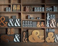 Ampersands in Letterpress Drawer - stock photo