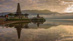 Sunrise Time Lapse of Pura Ulun Danu Bratan, Bali Stock Footage