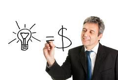 Ideas equal cash concept Stock Photos