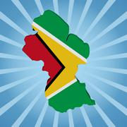 Stock Illustration of guyana map flag on blue sunburst illustration