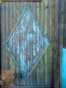 Blue obsolete gates of slum house Stock Photos