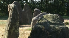 Section of Hunebed D50, a Prehistoric Dolmen with kerbstones Stock Footage