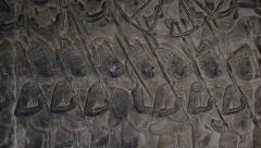 Bas Relief Carvings at Angkor Wat, Siem Reap, Cambodia - stock footage