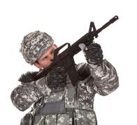 Close-up of solider aiming at direction Stock Photos