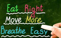 eat right move more breathe easy - stock photo