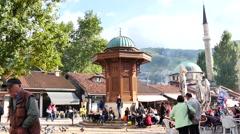 Center of Sarajevo old town, fountain sebilj 4k Stock Footage