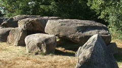 Section of Hunebed D50, a very well preserved  Prehistoric Dolmen + zoom in Stock Footage