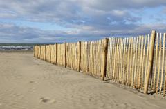 Sand Fence on Beach, Le Grau du Roi, Gard, France - stock photo