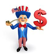 uncle sam with dollar sign - stock illustration