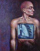 Conceptual Illustration of Man having Lungs X-rayed - stock illustration