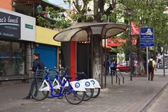 Biciquito station on rio amazonas avenue in quito, ecuador Stock Photos