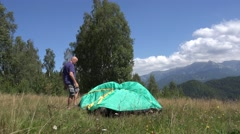 Tourist Organize Camping Activity Preparing Holiday Night Period Tent Assembles Stock Footage
