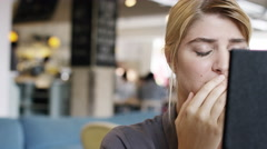 Depressed woman is sad crying upset money problems - stock footage
