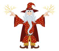 Wizard launches lightning Stock Illustration