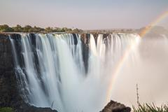 Silk water in Victoria Falls, View from Zimbabwe - stock photo