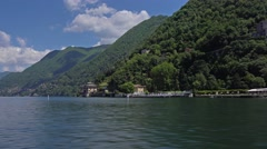 Italy, lake Como and surroundings as seen from cruising ship. Stock Footage