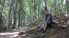 Hungry Tourist Man Resting Take Snack Break Eat Apple Mountain Nature Vacation Stock Footage