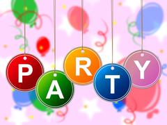 party kids representing children toddlers and youth - stock illustration