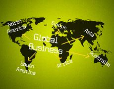 Stock Illustration of global business showing globalization globally and company