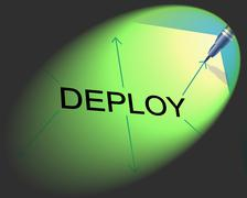 Deploy deployment meaning put into position and spread out Stock Illustration
