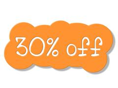 Stock Illustration of thirty percent off indicating promotional sale and savings