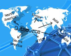 Worldwide outsource showing independent contractor and earth Stock Illustration
