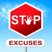 Stock Illustration of excuses stop meaning mitigating circumstances and prohibited