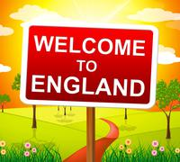 welcome to england representing united kingdom and meadows - stock illustration