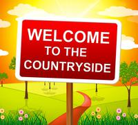 Stock Illustration of welcome countryside indicating picturesque nature and meadow