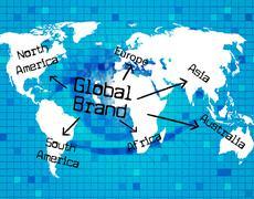 global brand indicating worldly globalise and world - stock illustration