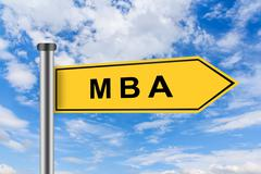 Mba or master of business administration road sign Stock Photos