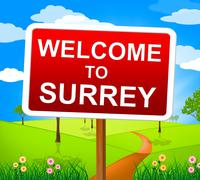 welcome to surrey showing united kingdom and natural - stock illustration