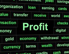 Profit revenue indicating employed success and revenues Stock Illustration