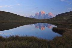 Lago delle Baste and Monte Pelmo, Dolomites, Belluno Province, Veneto, Italy Stock Photos
