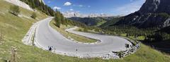 Hairpin Turn, Passo Gardena, Dolomites, South Tyrol, Trentino-Alto Adige, Italy Stock Photos
