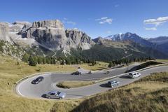 Hairpin Turn, Sella Pass and Mountains, South Tyrol, Trentino-Alto Adige, - stock photo