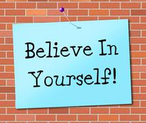 Stock Illustration of believe in yourself indicating positive hope and confidence