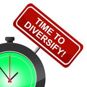 Time to diversify meaning at present and now Stock Illustration