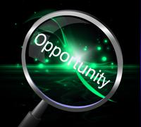 Stock Illustration of magnifier opportunity meaning searches possibility and chances