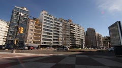 Traffic in Pocitos in Montevideo Stock Footage