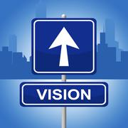 Vision sign meaning objective placard and direction Stock Illustration
