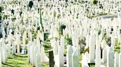 Muslim islam cemetery sarajevo 4k Stock Footage