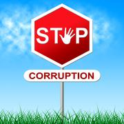 corruption stop representing warning sign and dishonesty - stock illustration