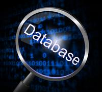 Databases magnifier meaning search searches and megabyte Stock Illustration