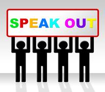speak out showing say your mind and explain - stock illustration