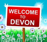 welcome to devon representing west country and hello - stock illustration